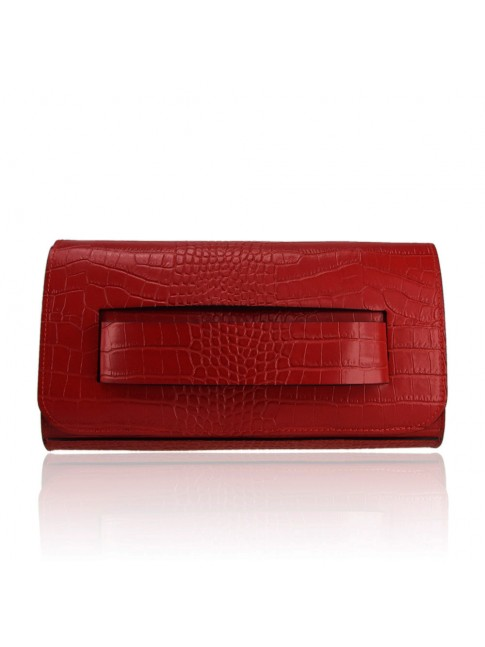 Woman leather pochette with shoulder bag