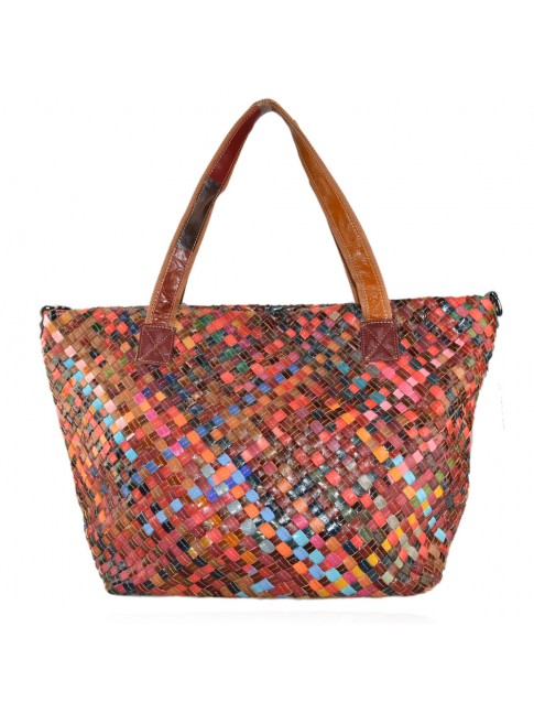Woven leather bag with patchwork - 9158