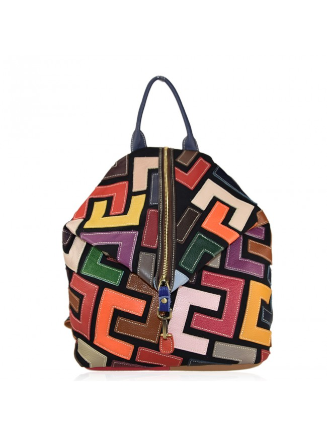 Leather back bag with patchwork - 1085
