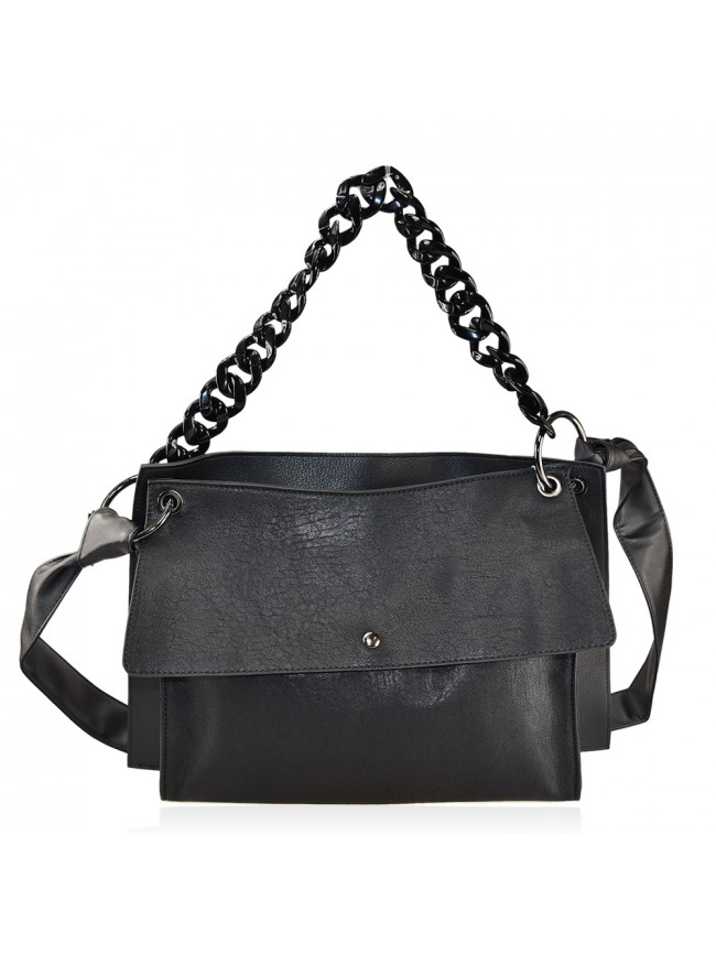 Woman synthetic leather bag with resin chain - 19062