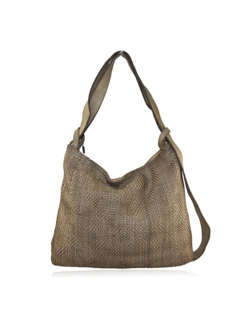 Woven vintage leather convertible shoulder bag in backpack vintage - QZ59865