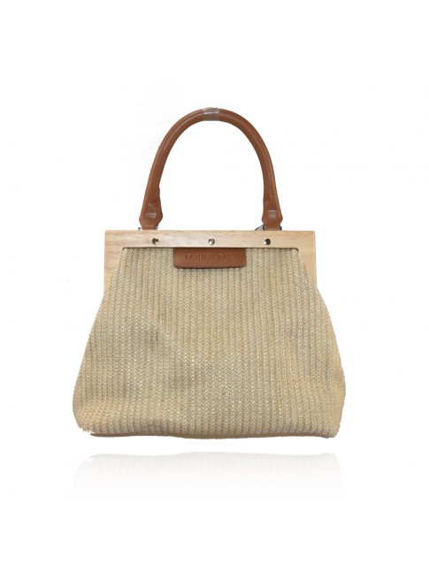 Woman synthetic leather & textile bag - 26091