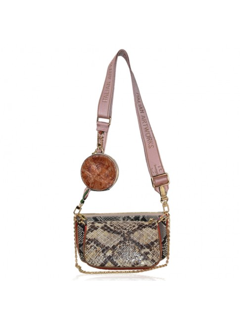Woman leather shoulder bag with multiple pochette - TV48853