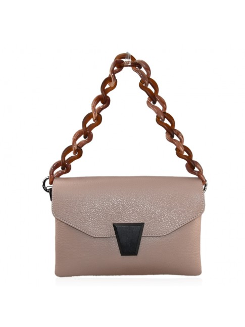 Woman leather hand bag with shoulder strap and resin chain - FL39843