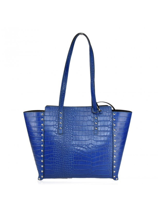 Woman leather shoulder bag with croco effect - CSB38842