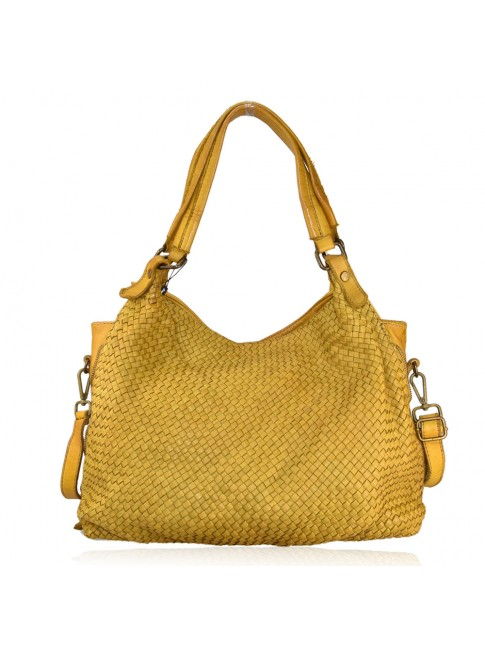 borsa  da spalla in pelle effetto vintage - AH59865