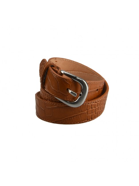 Woman stamped leather belt made Italy - CRO6