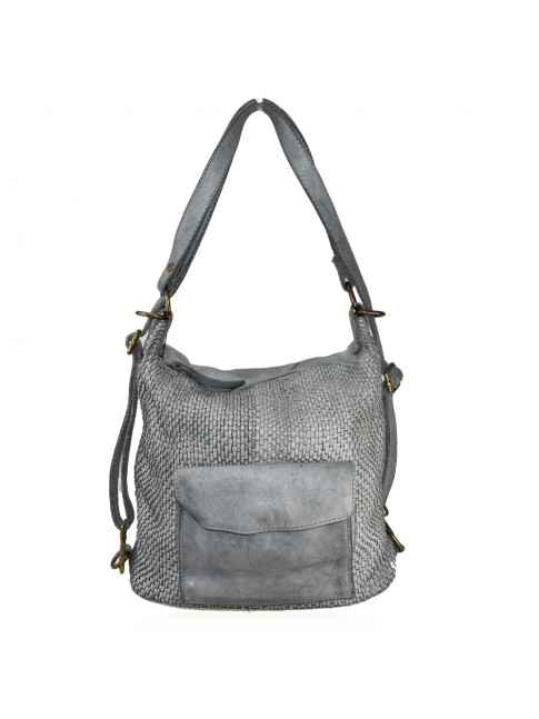 Woven vintage leather convertible shoulder bag in backpack vintage - HZ59865