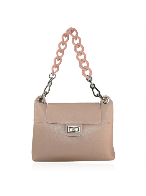 Woman leather hand bag with resin chain - FF39843