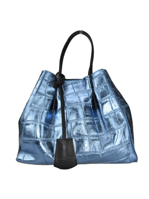 Woman stamped leather shopping bag - AM33836