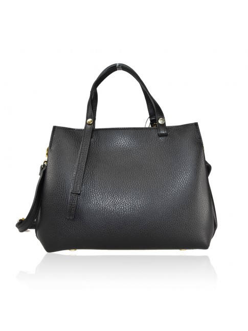 Leather hand bag with shoulder strap - AT35838
