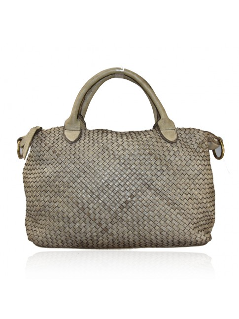 Woman vintage woven leather shoulder bag - SV42846