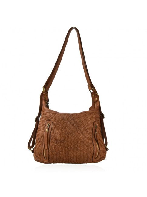 Convertible shoulder vintage leather bag in backpack - FS58864