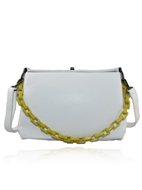 Woman leather hand bag with shoulder strap and resin chain - FC39843