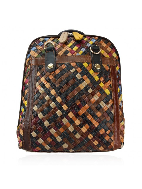 Leather back bag with patchwork - 3700