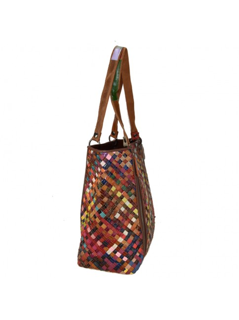 Woven leather bag with patchwork - 819