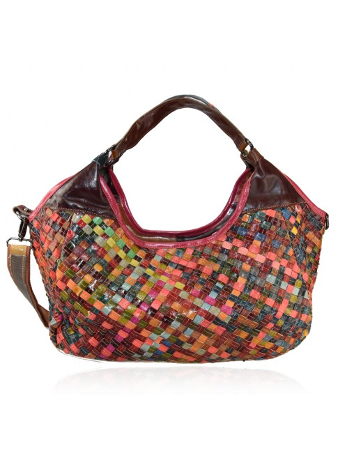 Woven leather bag with patchwork - 975