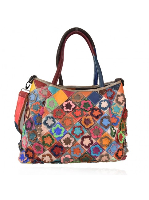 Leather shoulder bag with patchwork - 740