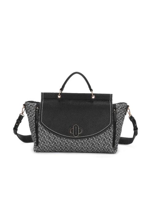 Leather shoulder bag with patchwork - 740
