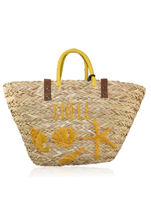 Woman straw beach bag with strap - JC1504