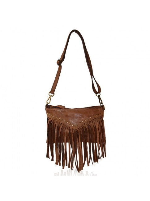 Woman vintage leather shoulder bag with fringes - BF35838