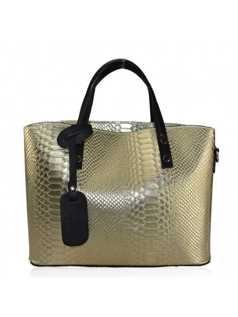 Woman stamped leather shopping bag - LC32835