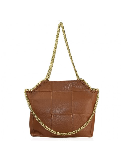 Woman leather shoulder bag with chain strap - SM45850