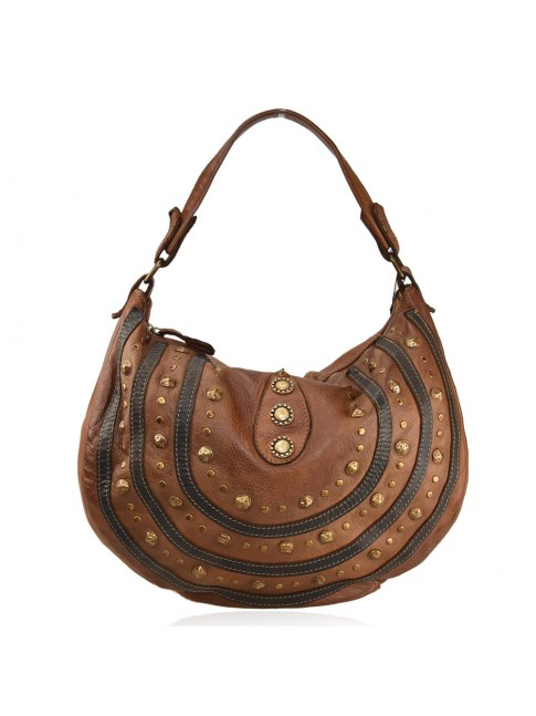 Vintage leather shoulder bag with studs - BR59865