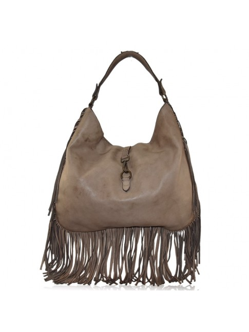 Woman vintage leather shoulder bag with fringes - LF78886