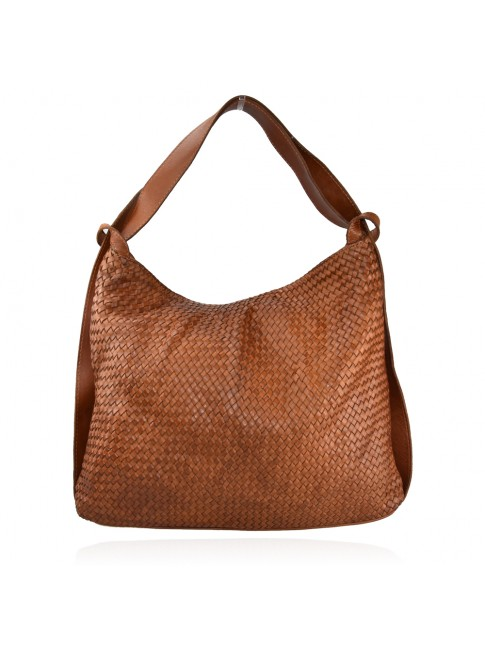 Woven vintage leather convertible shoulder bag in backpack vintage - QZ55861