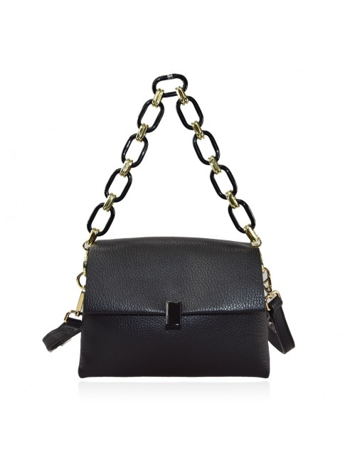 Woman leather hand bag with shoulder strap and resin chain - LY32835