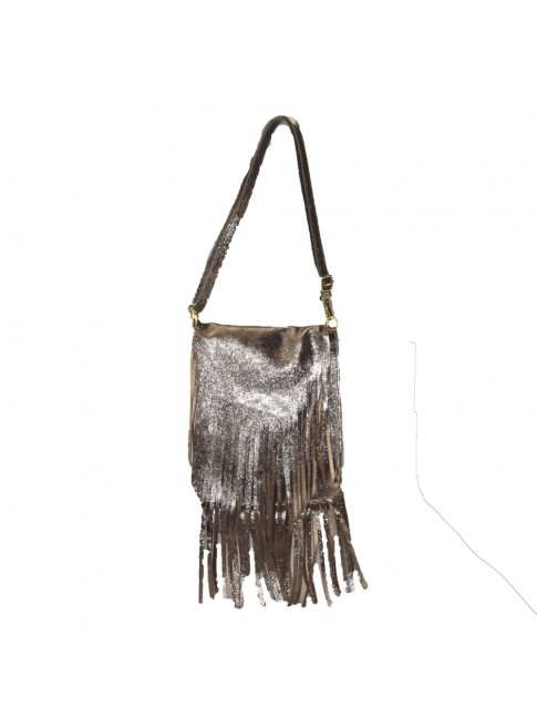 Woman metal suede leather shoulder bag with fringes - CK29832