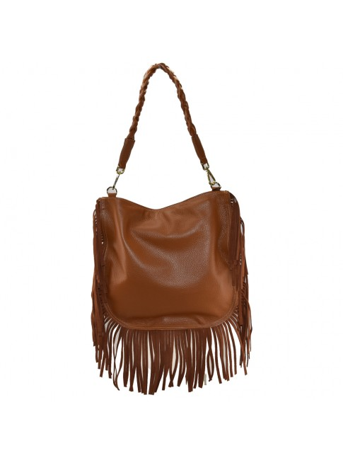 Woman leather shoulder bag with fringes - KX39843