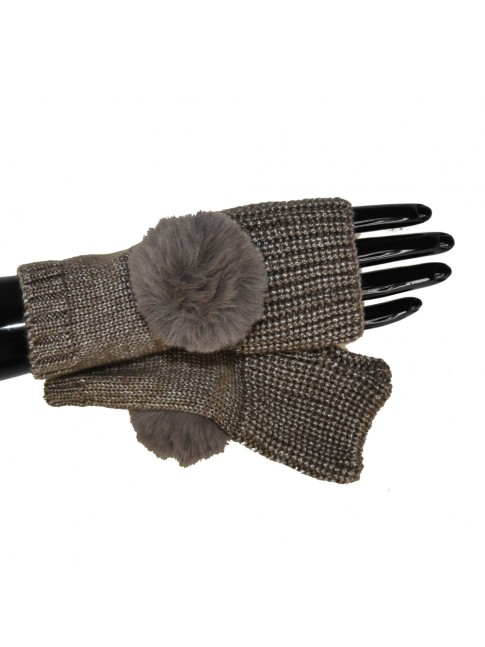 Glove soft fabric with fur ponpom - YN0257