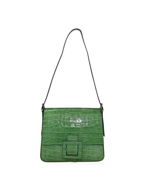 Woman shoulder leather bag with stamp - RK39843