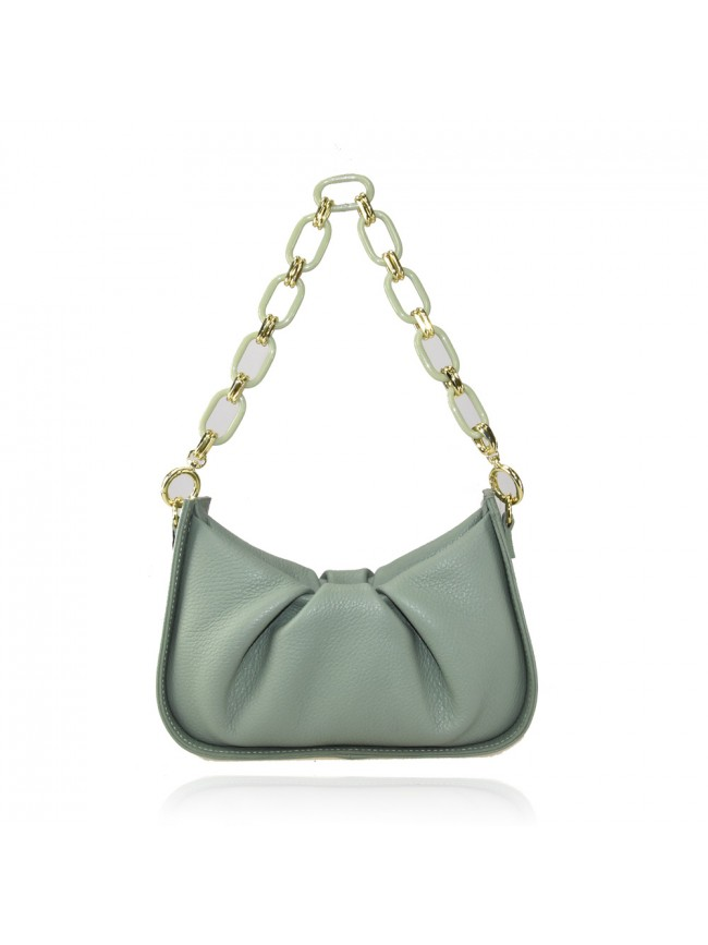 Woman leather hand bag with shoulder strap and resin chain - LY34837