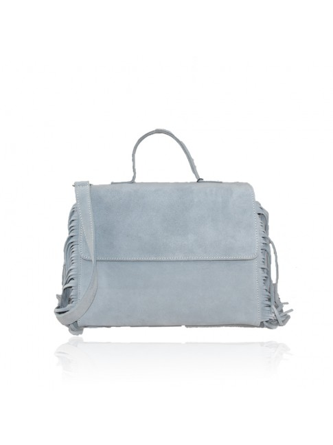 Woman suede leather hand bag with fringes - CX35838