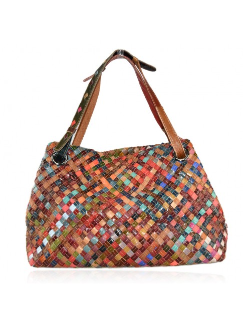 Woven leather bag with patchwork - 9328