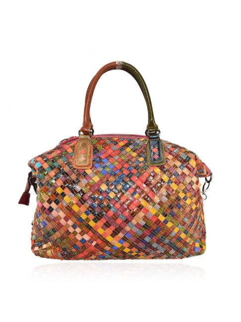 Woven leather bag with patchwork - 9338