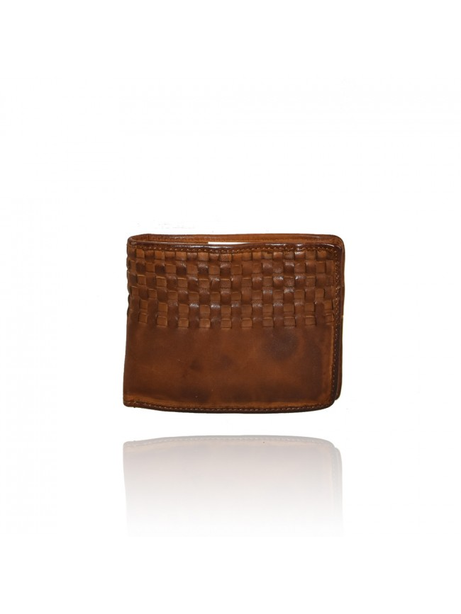 Woven vintage leather wallet - 1294
