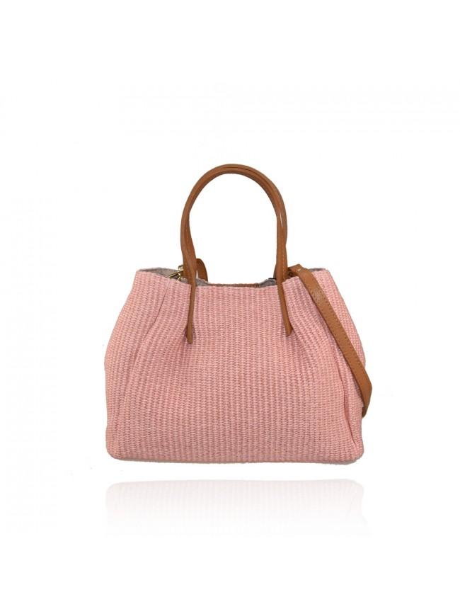 Woman rafia & leather bag - KC29832
