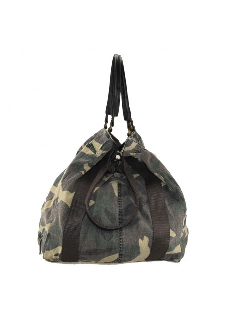 Woman  leather & textile camouflage bag - MS35838