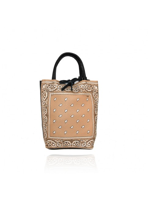 Bandana effect leather bag with shoulder strap - BD29832
