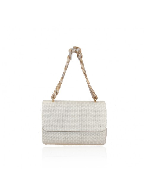Woman synthetic leather pochette bag with resin chain - HL3233