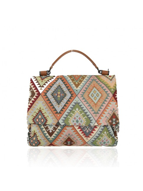 Woman textile & leather bag - YP35838