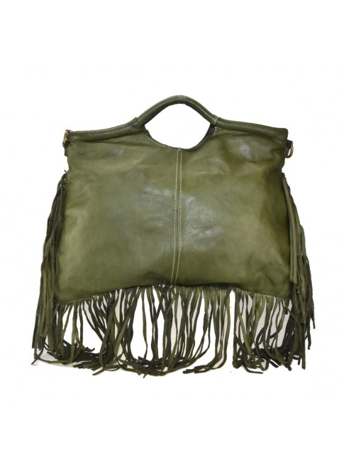 Woman suede leather hand bag with fringes - YX55861