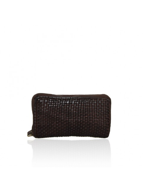 Woman washed woven leather wallet - 1437