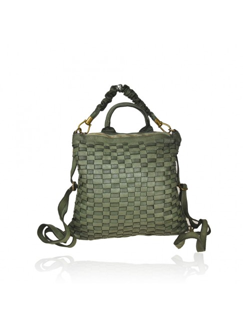 Woven vintage leather convertible bag in backpack vintage - ZF57863