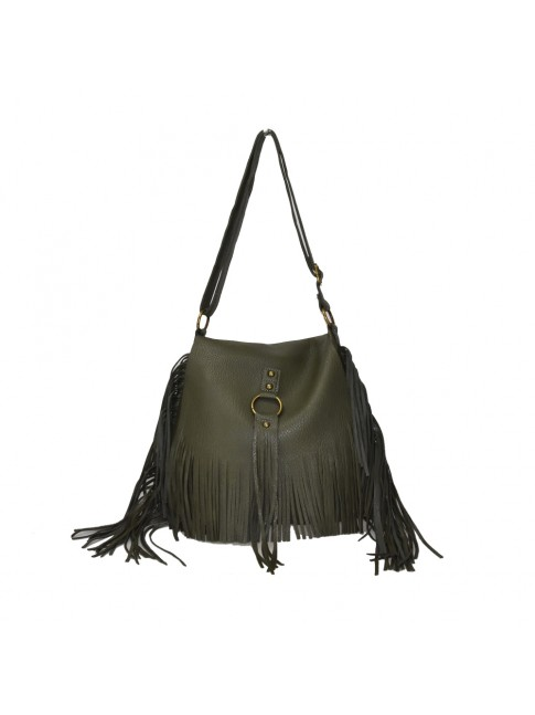 Woman synthetic leather shoulder bag with fringes - 830-1