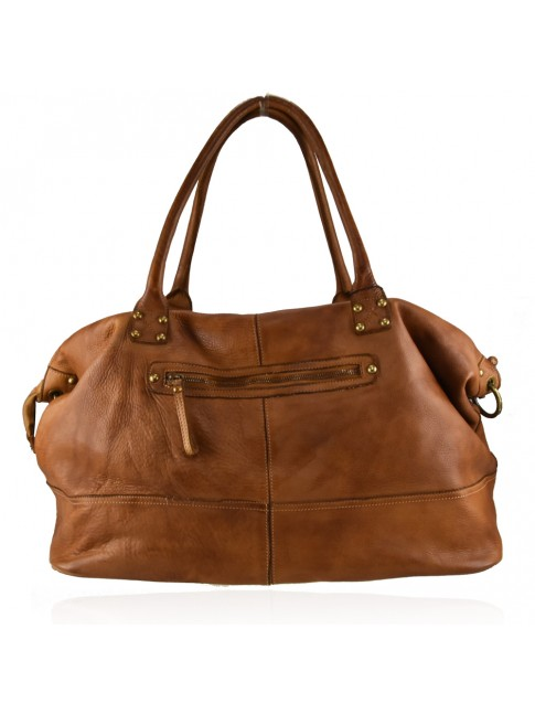 Woman washed leather travel bag